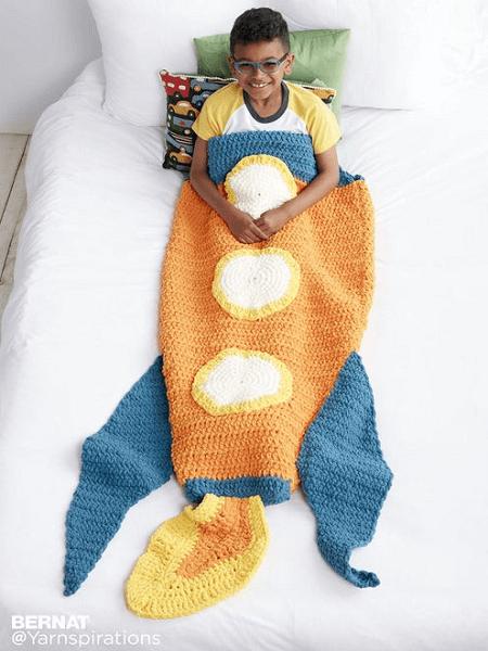 Rocket Ship Crochet Snuggle Sack Pattern by Yarnspirations