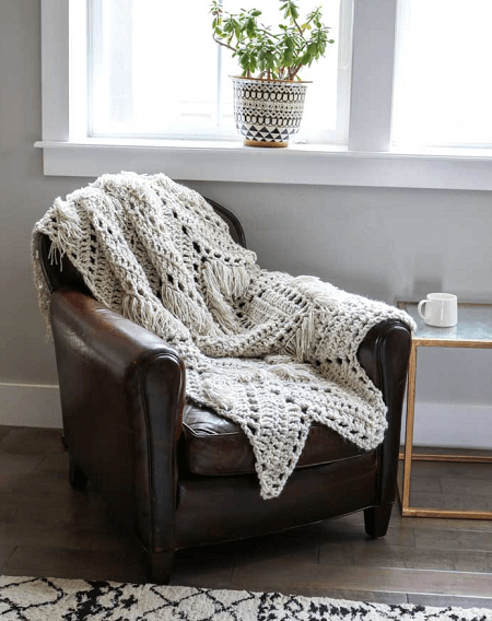 Sedona Fringed Crochet Throw Blanket Pattern by Make And Do Crew