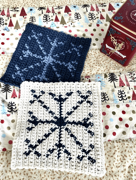 Snowflake Hot Pad Crochet Pattern by Little Monkey Shop