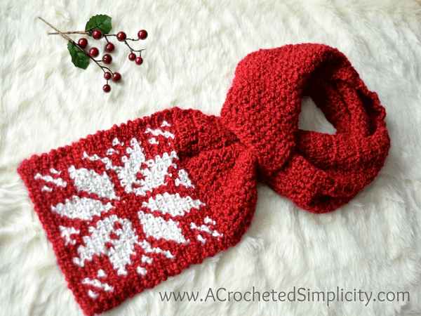 Snowflake Keyhole Scarf Crochet Pattern by A Crocheted Simplicity