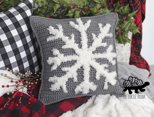 Snuggly Snowflake Pillow Crochet Pattern by The Turtle Trunk
