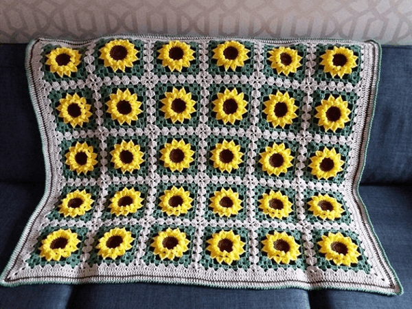 Sunflower Crochet Blanket Pattern by Libby Craft Makes