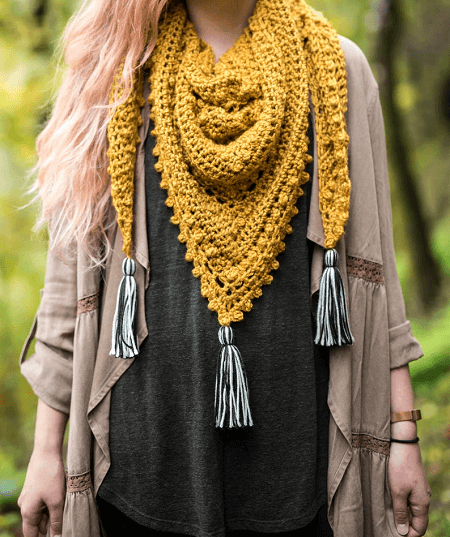 The Meadowlark Triangle Scarf Crochet Pattern by Hailey Bailey