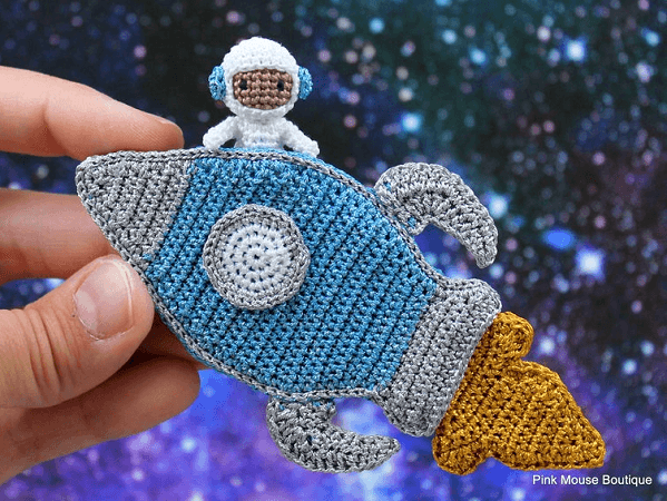 Tommy, The Astronaut And Rocket Ship Crochet Pattern by Pink Mouse Boutique