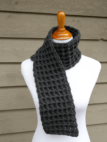 Waffle Stitch Crochet Charity Scarf Pattern by Jennifer Dickerson