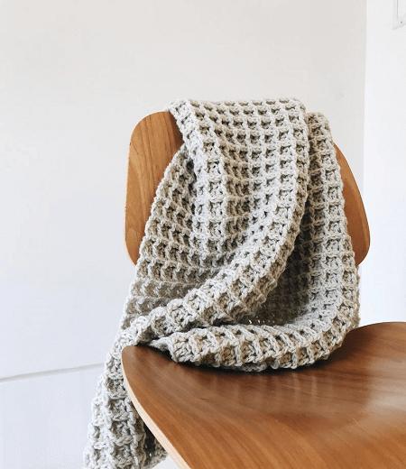 Waffle Texture Crochet Blanket Pattern by DeBrosse NYC