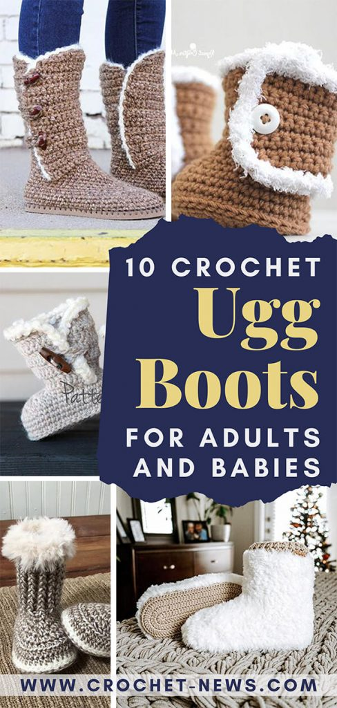 10 Crochet Ugg Boots For Adults and Babies