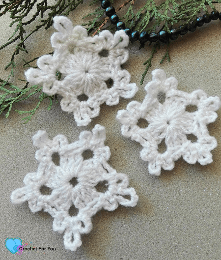 5-Minute Crochet Snowflake Free Pattern by Crochet For You