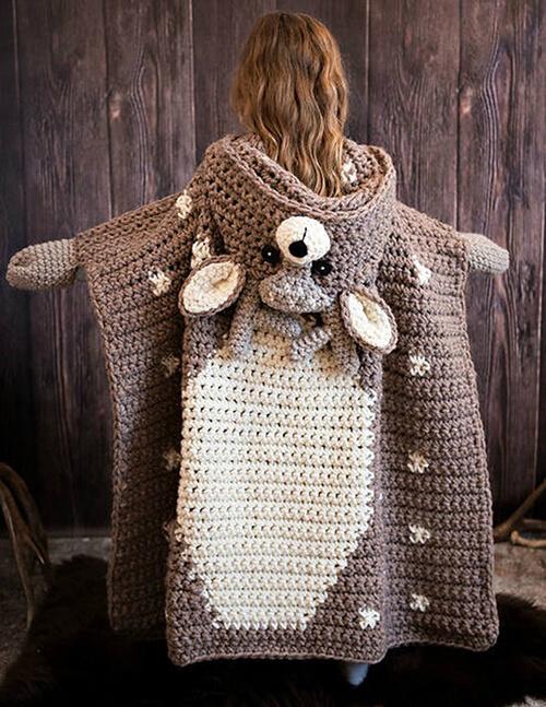 Backside of Crochet Deer Blanket By MJsOffTheHookDesigns