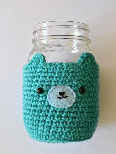 Bear Mason Jar Cozy By PopsDeMilk