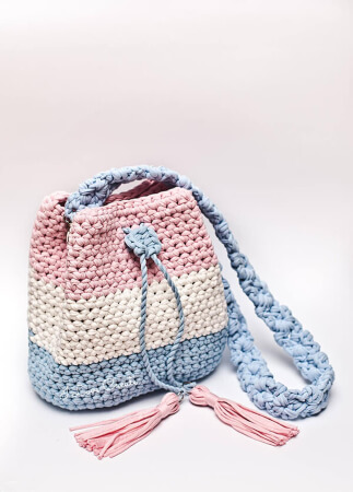Bucket Bag Crochet T-shirt Yarn Pattern By IlovecreateStore