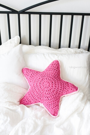 Chunky Star Pillow Crochet Tshirt Yarn By 1dogwoof