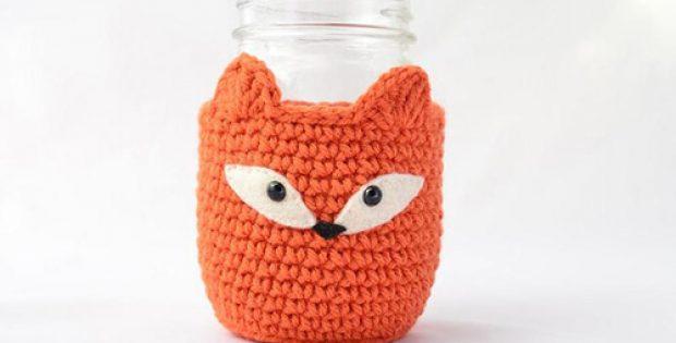 Fox-themed Crochet Mason Jar Cozy By PopsDeMilk