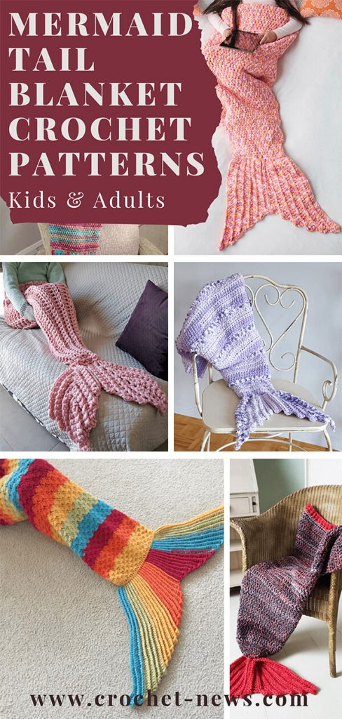 Mermaid Tail Blanket Crochet Patterns Kids & Adults