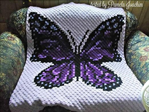 Purple Crochet Butterfly Blanket Pattern