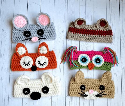 Animal Ear Warmers Crochet Pattern by Sweet Potato 3 Patterns