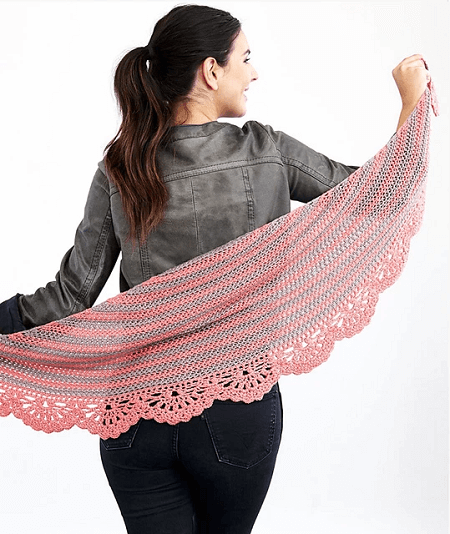 Chic And Strong Crescent Shawl Crochet Pattern by Yarnspirations