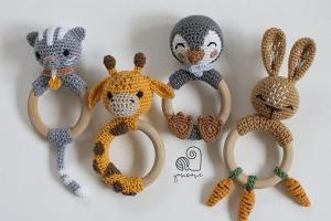 Crochet Amigurumi Rattle Toys Pattern by Yarn Wave Shop