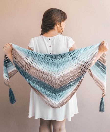 Crochet Beginner Shawl Pattern by Sewrella