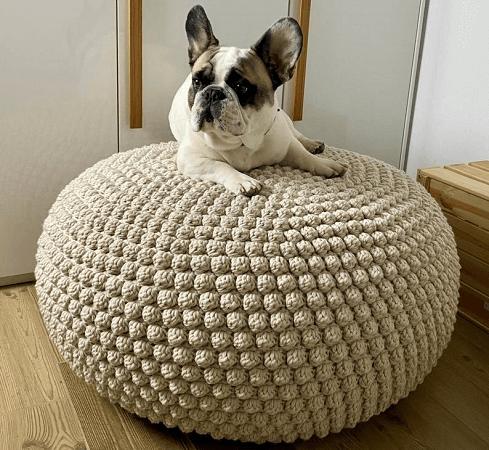 Crochet Bobbles Pouf Pattern by Is Woolish