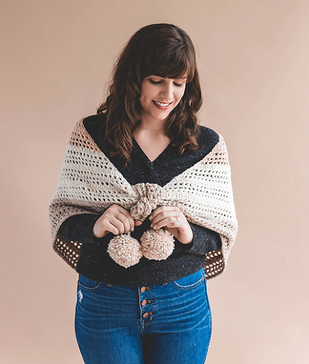 Crochet Elle Convertible Shawl Pattern by Sewrella