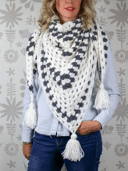 Crochet Granny Stitch Shawl Pattern by Make And Do Crew
