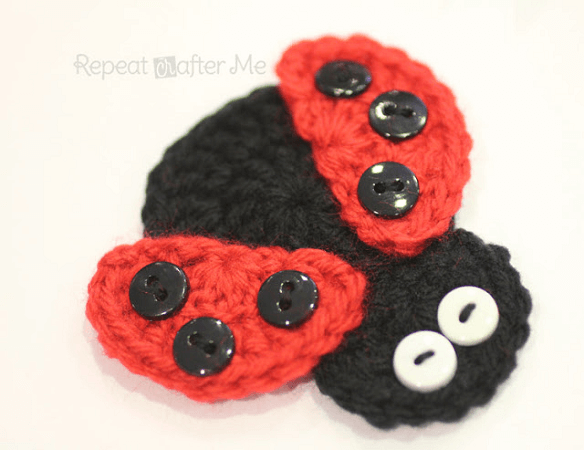Crochet Ladybird Applique Pattern by Repeat Crafter Me
