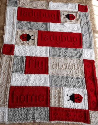 Crochet Ladybug Blanket Pattern by Color And Shape Design