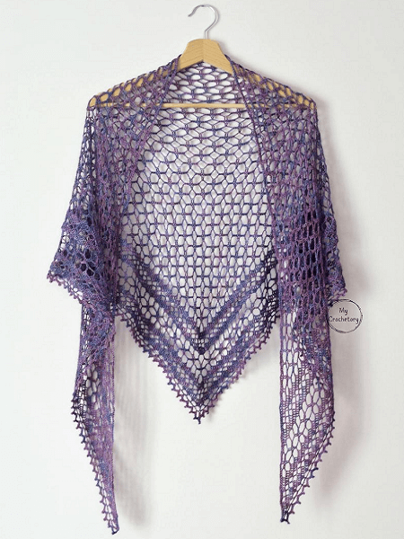 Crochet Nightfall Shawl Pattern by My Crochetory