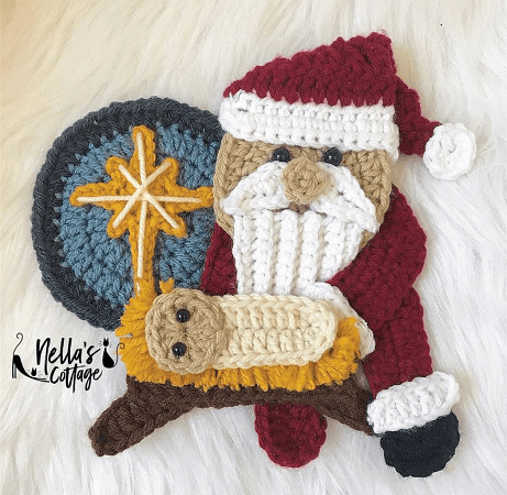 Crochet Santa Applique Pattern by Nella's Cottage