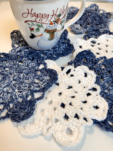 Crochet Simple Snowflake Coaster Pattern by Vicky Pietz