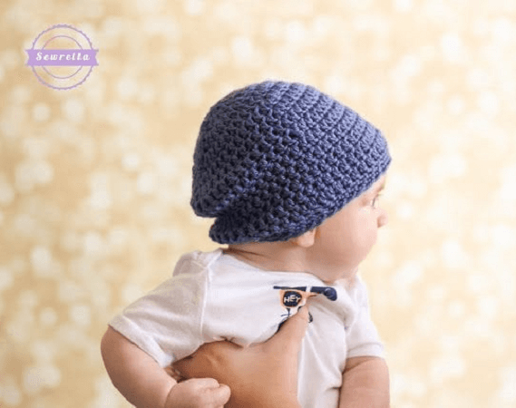 Slouchy Baby Beanie Crochet Pattern by Sewrella