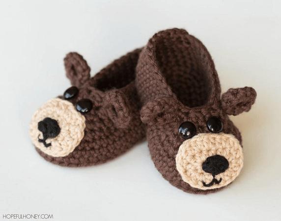 Crochet Teddy Bear Booties Pattern by Hopeful Honey Designs