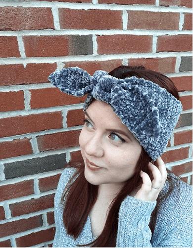 Crochet Velvet Ear Warmer Pattern by Story Knits