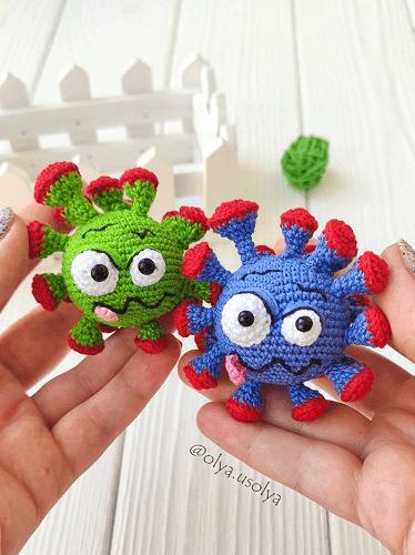 Crochet Virus Baby Toy Pattern by Olya Usolya Amigurumi