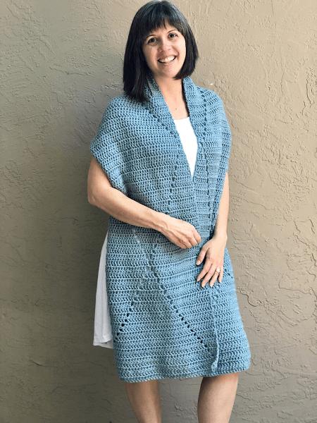 Easy Rectangle Crochet Shawl Pattern by Yarn Hook Needles