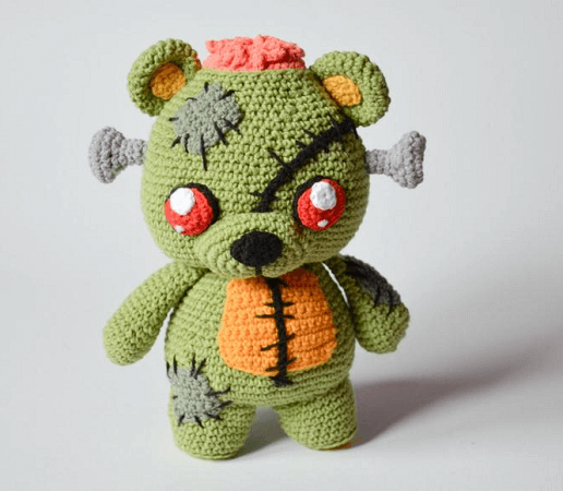 Frankie, The Zombie Teddy Bear Crochet Pattern by Krawka