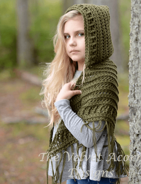 Hooded Shawl Crochet Pattern by The Velvet Acorn