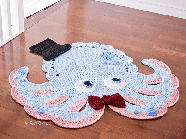 Inky, The Octopus Rug Crochet Pattern by Ira Rott Patterns