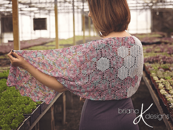 Modern Honeycomb Crochet Shawl Pattern by Briana K Designs