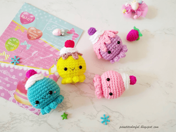Octopus Cupcake Amigurumi Pattern by A Little Love Everyday