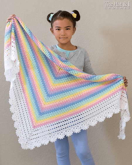 Pastel Rainbow Shawl Crochet Pattern by The Hat And I