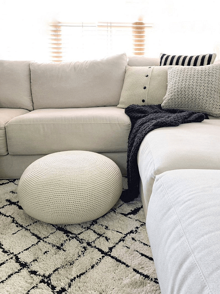 Round Minimalist Floor Pouf Crochet Pattern by Minimalism With Yarn