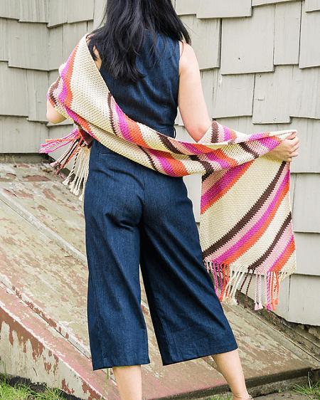 Throwback Wrap Shawl Crochet Pattern by 1 Dog Woof