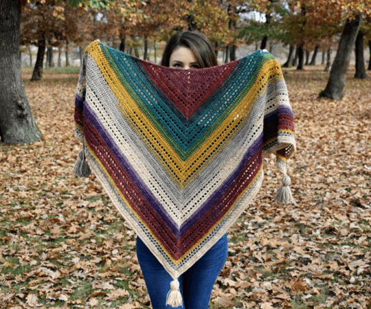 Warlock Triangle Shawl Crochet Pattern by Passionate Crafter