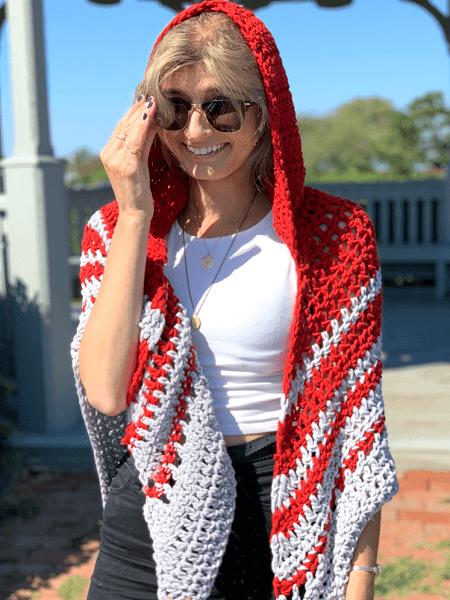 Woodward Hooded Shawl Free Crochet Pattern by Stitch & Hustle