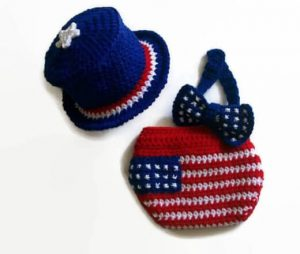 Crochet 4th of July Baby Hat, Diaper and Bow tie Pattern