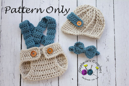 Crochet Baby Set Pattern - Bowtie, hat and nappy overalls