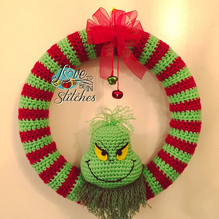 Grinch Wreath Christmas Crochet Pattern By Love to be in Stitches
