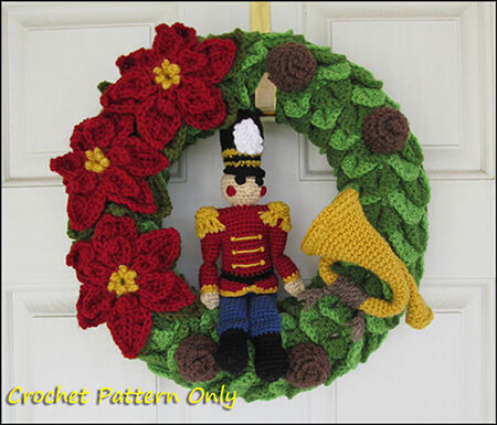Nutcracker Toy Soldier Crochet Christmas Wreath By Yarnovations Shop